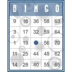 Blauwe retro bingokaart