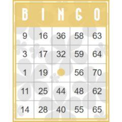 Gele retro bingokaart